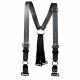 Boston Leather Black Firefighter's Leather Suspenders with Loop and ABS Rectangular Ring