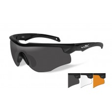 Wiley X Rogue Sunglasses Grey/Clear/Rust Lens Matte Black Frame