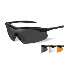 Wiley X Vapor Sunglasses Grey/Clear/Rust Lens Matte Black Frame