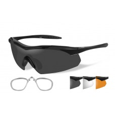 Wiley X Vapor Sunglasses Grey/Clear/Rust Lens Matte Black Frame W/RX Carrier