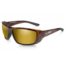 Wiley X Kobe Sunglasses Polarized Venice Gold Mirror Lens Hickory Brown Frame
