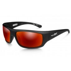 Wiley X Omega Sunglasses Polarized  Crimson Mirror Lens Matte Black Frame