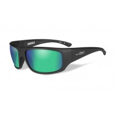Wiley X Omega Sunglasses Polarized Emerald Green Mirror Lens Matte Black Frame