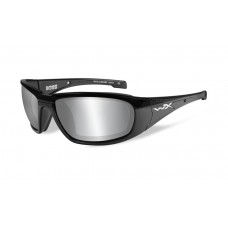 Wiley X Boss Sunglasses Grey Silver Flash Lens Black Frame
