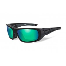 Wiley X Enzo Sunglasses Polarized Emerald Mirror Lens Matte Black Frame