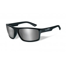 Wiley X Peak Sunglasses Grey Silver Flash Lenses Black Frame