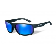 Wiley X Peak Sunglasses Polarized Blue Mirror Multi-Coat Green Lenses Black Frame