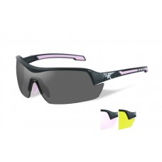 Wiley X Platinum Grade RE 203 Adult Female  Frame 3 Lens Kit/Black & Pink Frame