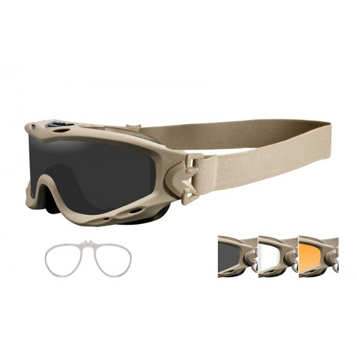 b2cb716a12c87 Wiley X Spear Goggle Grey Clear Rust Lens Tan Frame W RX Insert ...