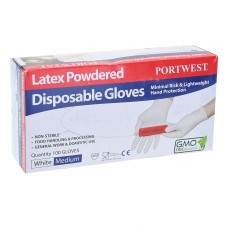 Portwest Powdered Latex Disposable Gloves (Box of 100)
