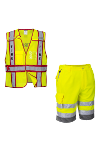 Public Safety Vest - Fire with Hi-Vis Polycotton Shorts Yellow