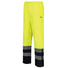 Hi-Vis Rain Pants with Side Zipper Leg Openings - Yellow/Black