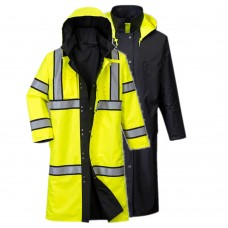"Hi-Vis Reversible Rain Coat 48"" Yellow/Black"