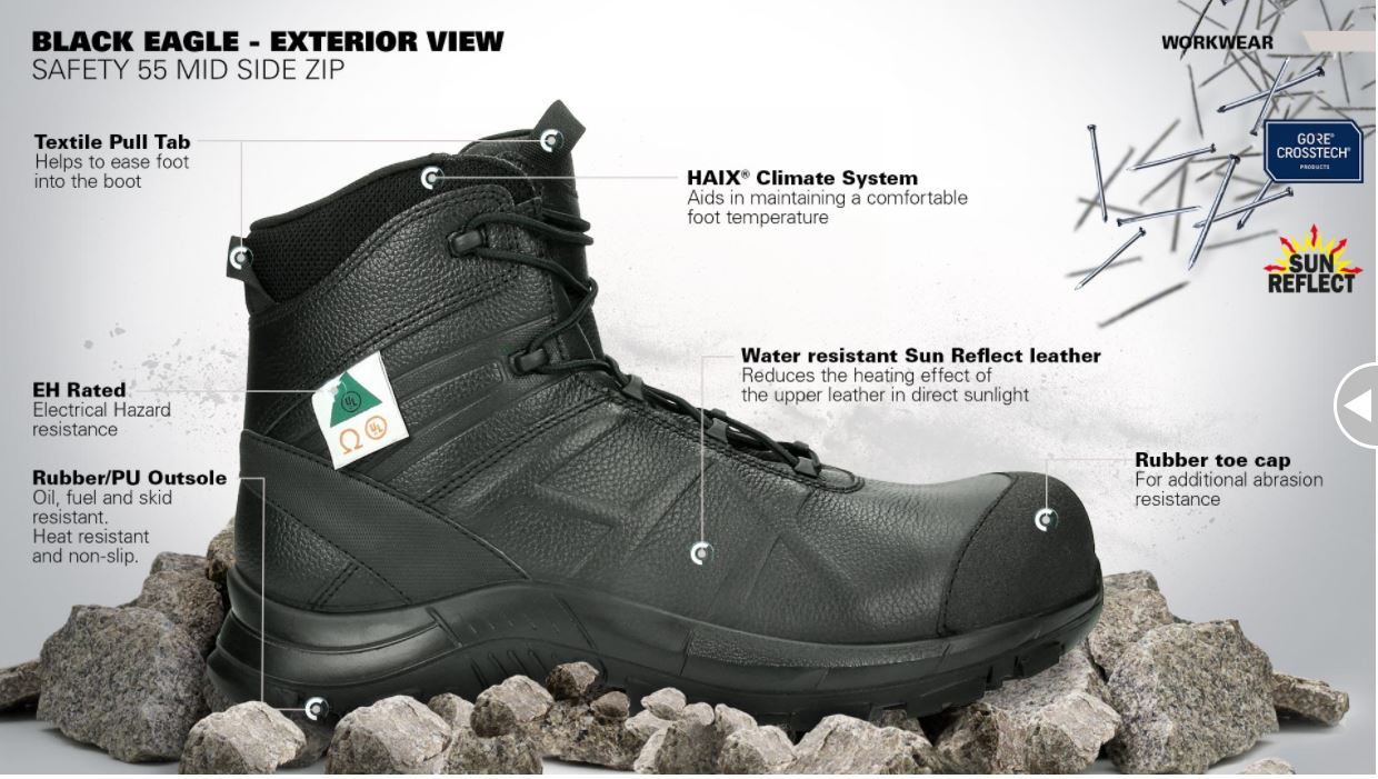 Haix Black Eagle Safety 55 Mid Side Zip Outside View 097d493f38