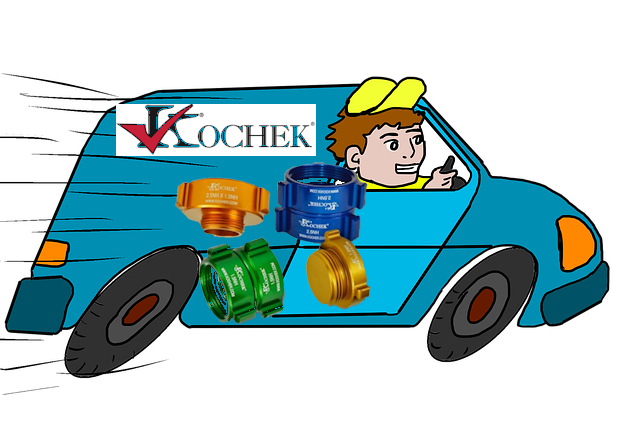 Clip art of a man in van doing quick delivery of Kochek adapters