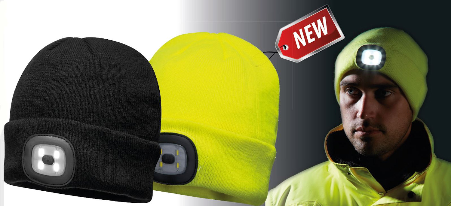 portwest b029 beanie with led head light