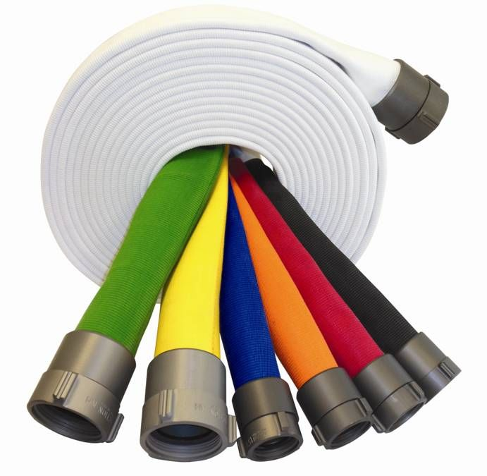 Superior Fire Hose display of steadfast colors
